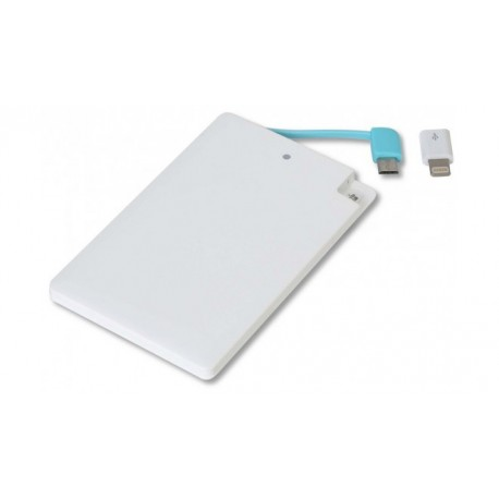 Power Bank 2000mah con microUSB y lightning iphone tamaño tarjeta credito