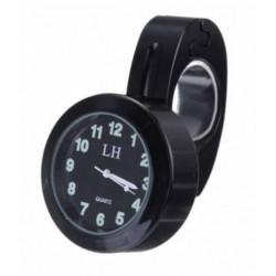 Reloj analógico para barra manillar de moto impermeable metal negro
