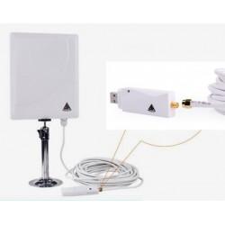 Antena Panel WIFI con adaptador USB RTL8188RU cable coaxial SMA 10 metros