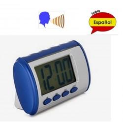 Relógio falante em espñaol voz que fala e diz que a hora de despertar / relógio despertador digital
