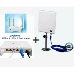 Kit repetidor Wifi com Antena Painel 300Mbps + router Open-Wrt USB AP