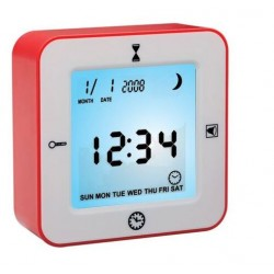 Despertador giratorio con sensor de movimiento reloj termometro
