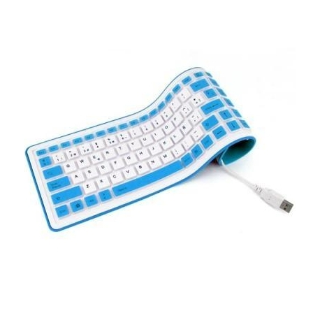Teclado de silicona español USB enrollable blanco Impermeable