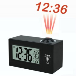 Alarm clock with projection light hour wall control by sound