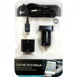 USB car charger microUSB + Apple 5v 2.1 A 2100mA tablet iphone