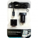 Cargador coche cable micro USB + Apple 2.1A 2100mA tablet iphone