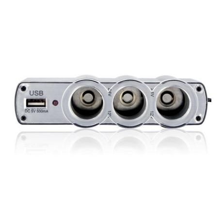 Ladron isqueiro carro triplo 3 saída USB carregador do telefone