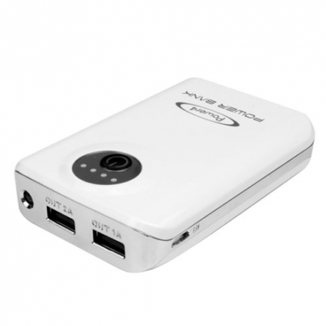 Dual USB 6600mAh Mobile Power Bank LED Li-ion torch