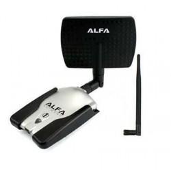 Adaptador WIFI ALFA AWUS036H USB SMA painel 7dBI 1w direcional