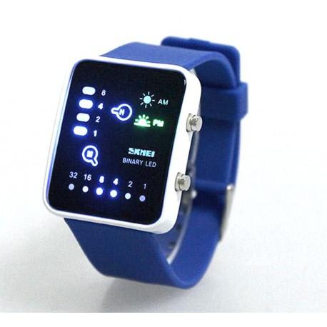 Montre LED SKMEI 0890 binaire résistant à l'eau 30m bleu