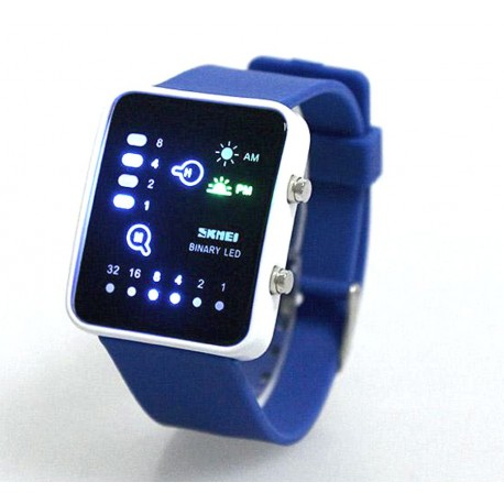 Reloj LED SKMEI 0890 binario sumergible 30m azul