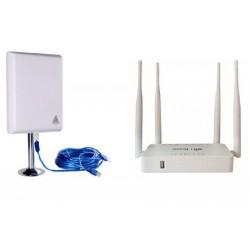 Pack roteador Openwrt repetidor USB português + antena wi-fi 36dbi