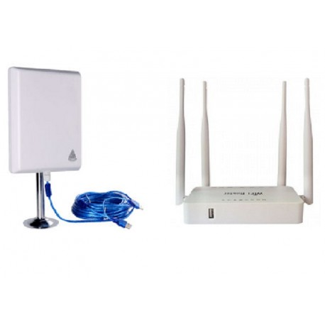 Pack router Openwrt repetidor USB español + antena wifi 36dbi