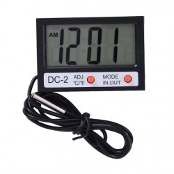 Indoor Outdoor Mini Digital Thermometer Clock DC-2 LCD