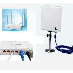 Kit repetidor Wifi com Antena Painel 300Mbps + router Open-Wrt USB AP