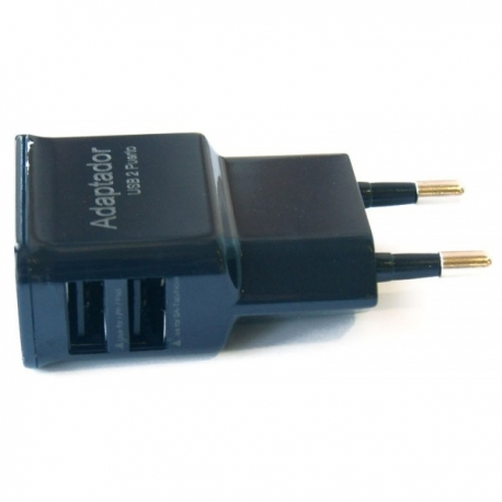 Cargador doble USB 2 salidas telefono movil y tablet 2000mAh 2A