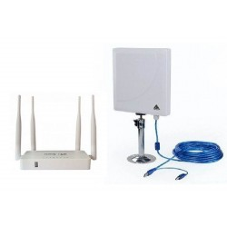 Kit Repetidor Wi-Fi com Painel de Antena de 300 Mbps + Open-Wrt Router USB AP