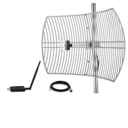 Pack Antenne Parabolique WiFi Grid Antenne 24dBi + Adaptateur USB AWUS036NEH + Câble