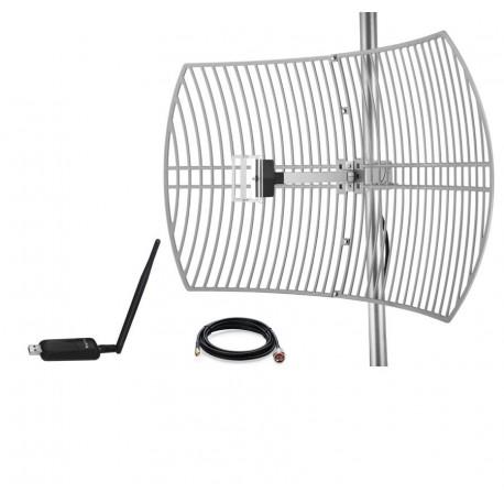 Pack Antenna Parabolica Griglia WiFi Antenna 24dBi + Adattatore USB