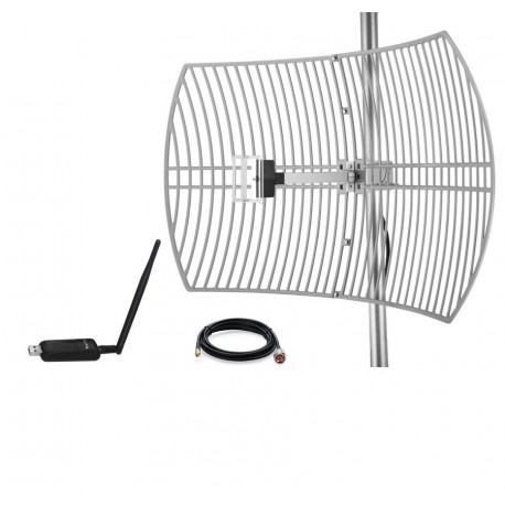 Pacote Antena Parabólica Wi-Fi Grid 24dBi Antena + Adaptador USB