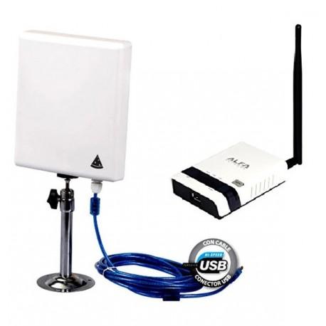 Pack repetir WIFI Antena Panel N4000 USB 10m + Router Alfa R36