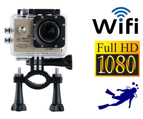 Camara HD 1080p mini DV control WIFI sumergible deportes 14MP