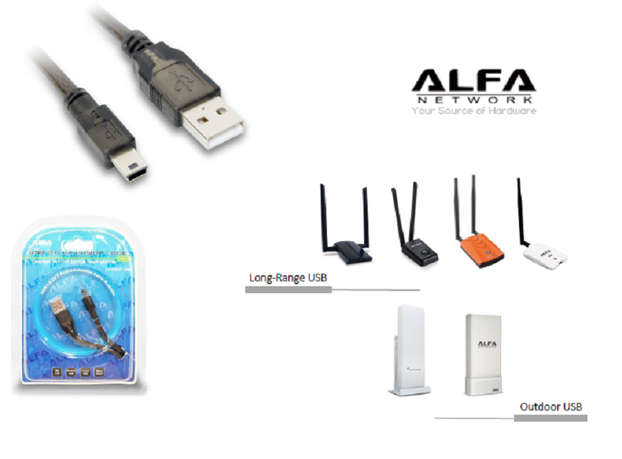 cable USB activo mini USB alfa wifi