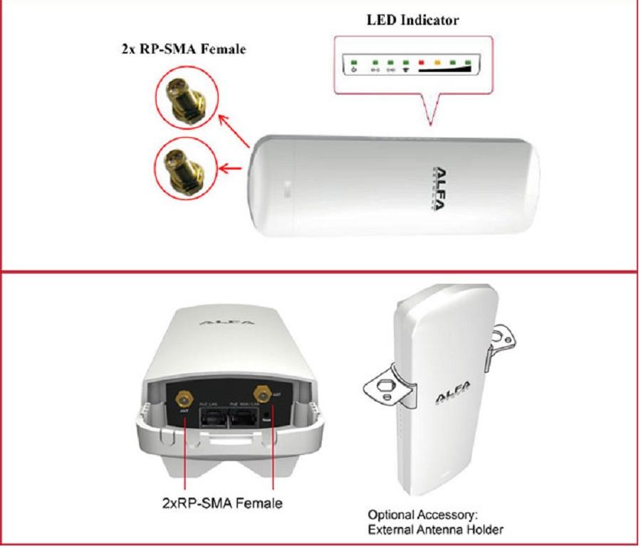 alfa cpe sma antena wifi rj45