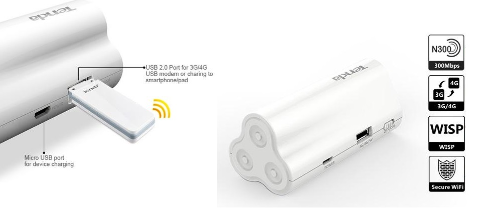 Tenda 4G300 WiFi Router with USB modem 4g / 3G + External Battery Mobile  Power Bank ) TDD/FDD LTE