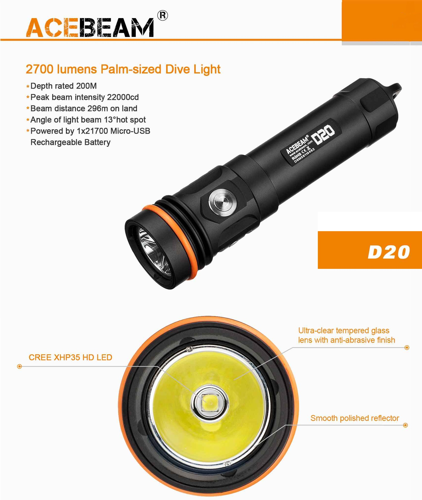 ACEBEAM D20 DIVE FLASHLIGHT