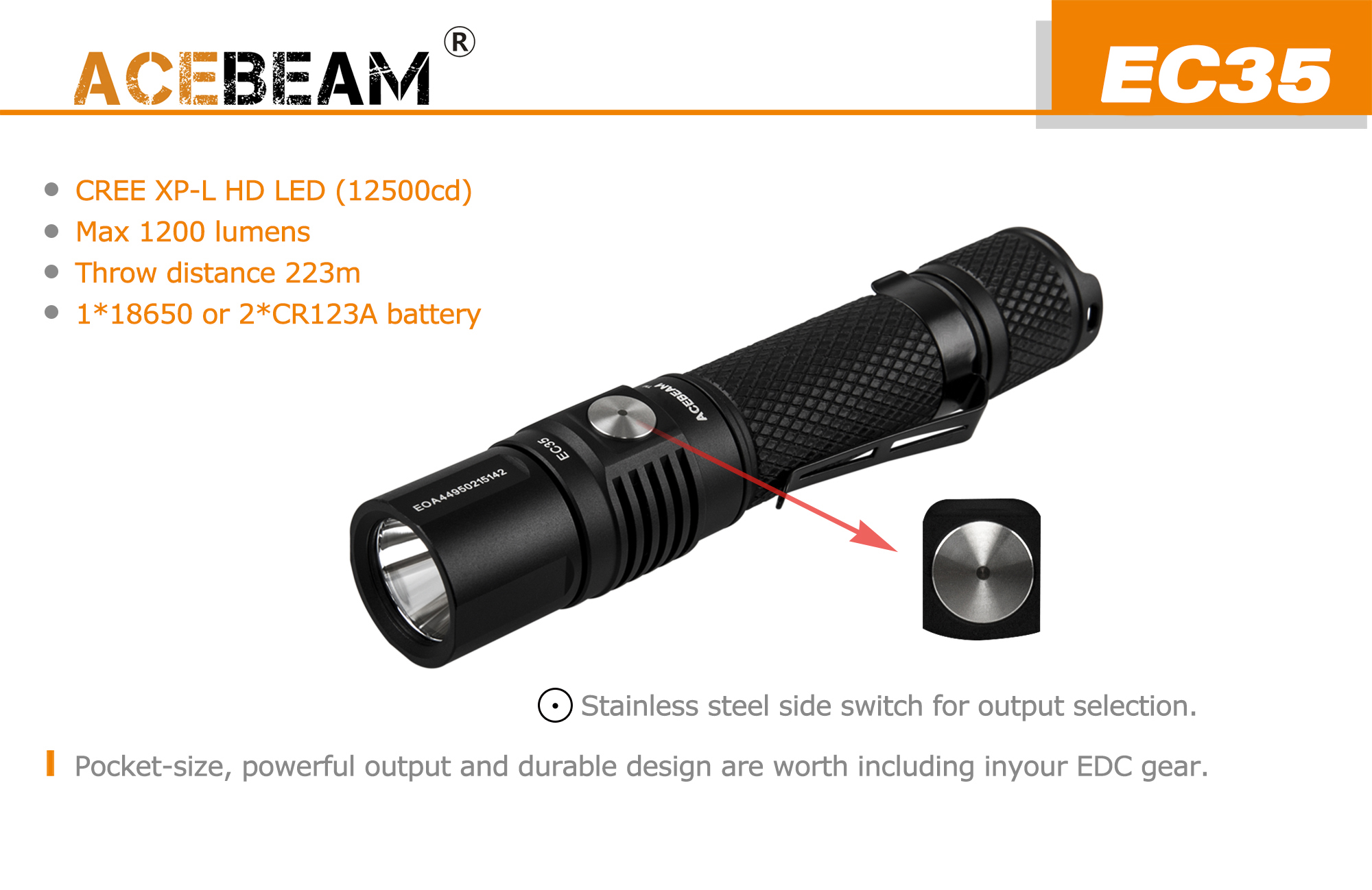 ACEBEAM EC35 TOP switch