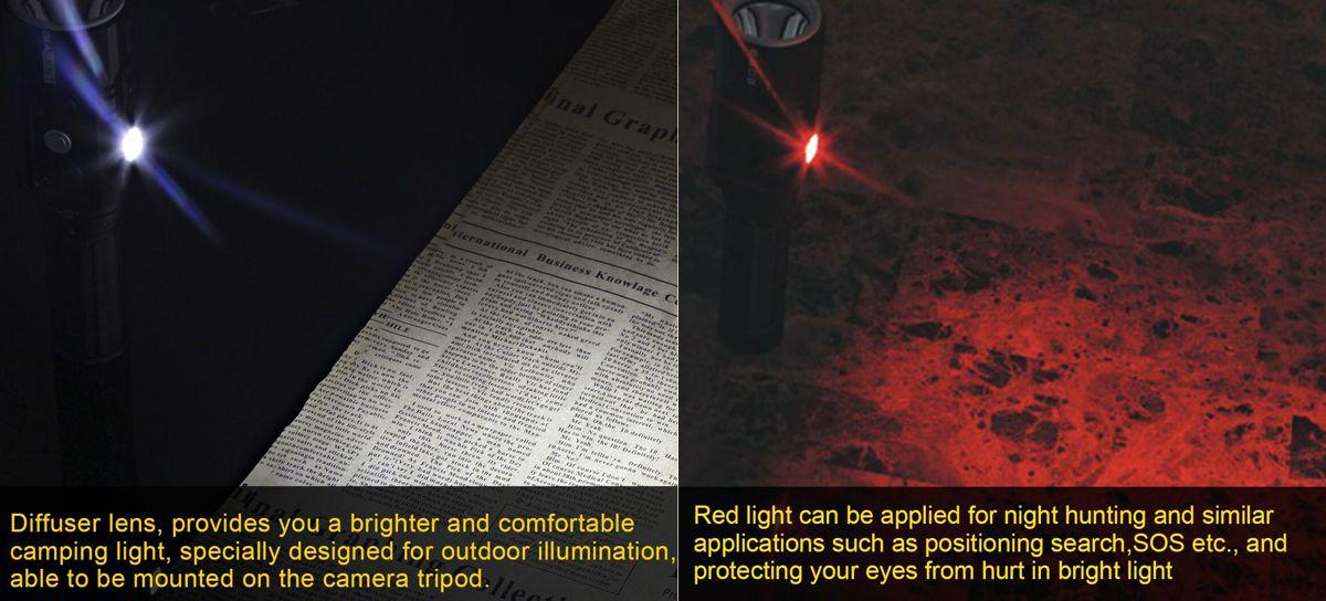 linterna led luz ultravioleta y roja