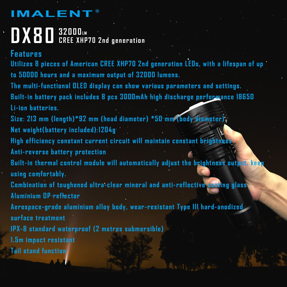 IMALENT DX80 32000LM lumenes