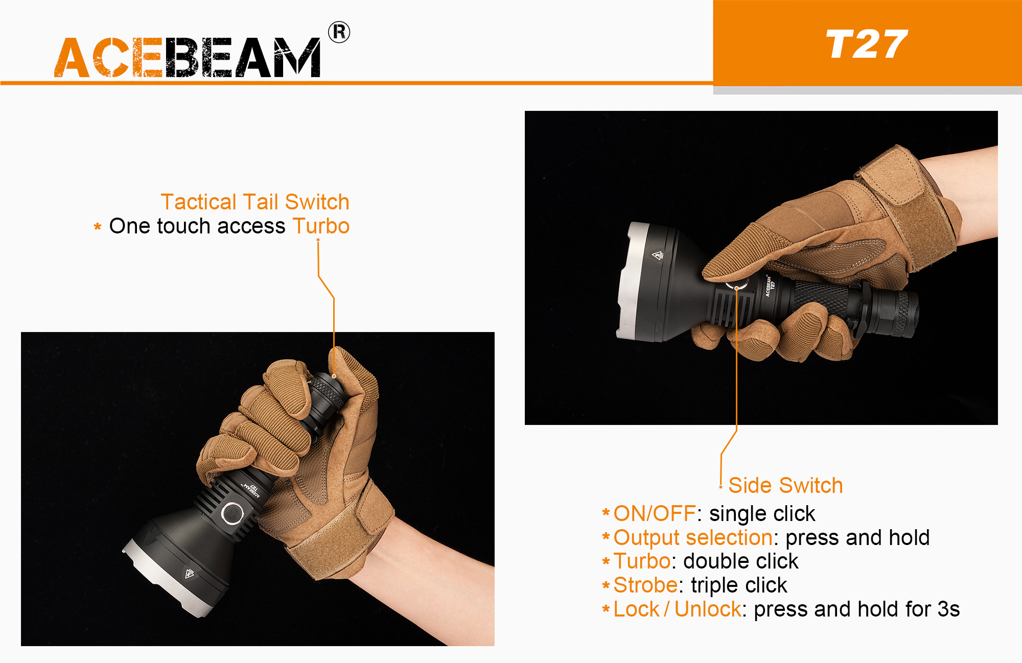 ACEBEAM LED RECARGABLE USB
