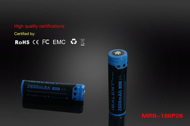 mrb-18650 mrb186p26 bataria recargable de linterna