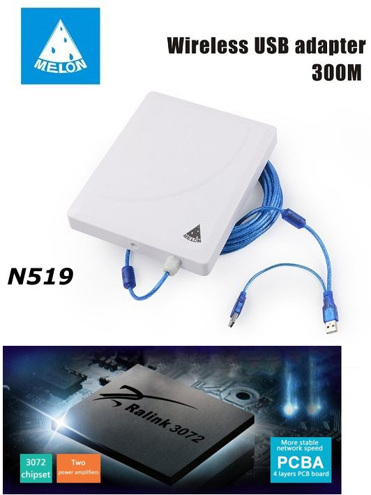 Melon N519 36dbi Chip Rt3072 300mbps Antena Wifi Panel Para Exterior Siliceo Tienda Online