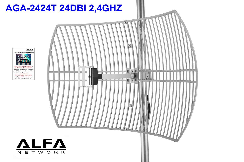 kit Antena WIFI parabolica rejilla Alfa AGA-2424T 24dBi Grid N