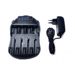 Smart charger for 4 batteries for flashlights 18650 battery and other USB