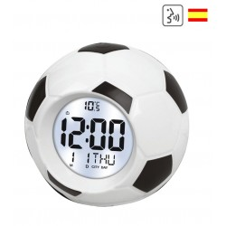Digital talking clock spanish soccer ball football snooze alarm