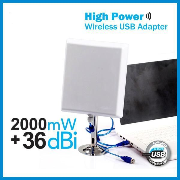 36dbi Antena Panel WIFI 2000mw USB 10m Cable 2W MELON