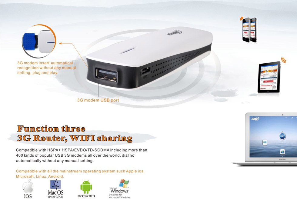 Hame) a11w portable 3g wi-fi ieee 80211n router with sim card slot  rj45 port for tablet pc cnp-112654