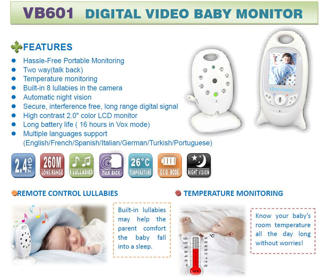 digital video baby monitor vb601 2 color wireless talk night ir. Black Bedroom Furniture Sets. Home Design Ideas