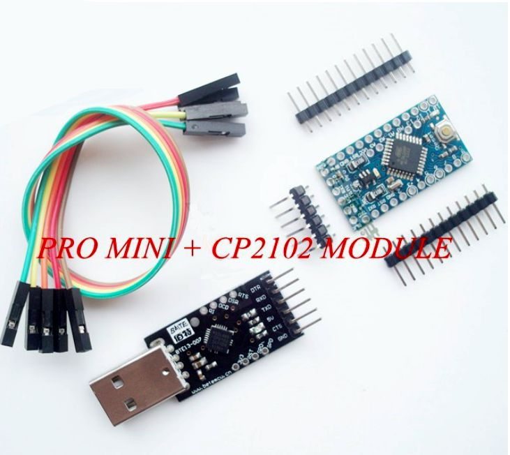 Arduino pro mini atmega p with usb serial adapter cp